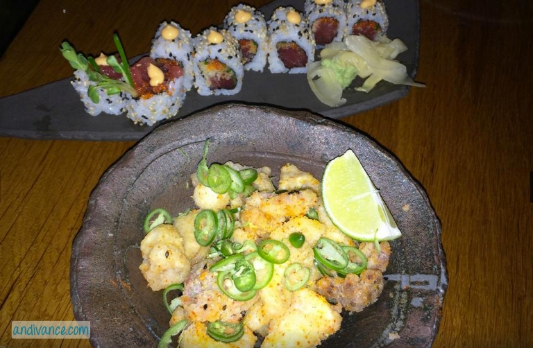calamari & spicy tuna roll